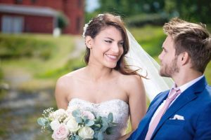 Christian Ostmo complimenting Deborah in her wedding dress in Bro, Sweden